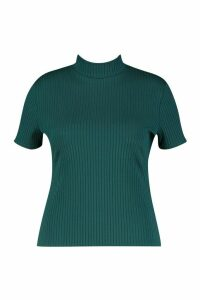 Womens Plus Cap Sleeve High Neck Crop Top - green - 18, Green