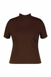 Womens Plus Cap Sleeve High Neck Crop Top - brown - 18, Brown