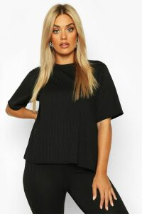 Womens Plus Oversized Side Split Jumbo Rib Tee - Black - 20, Black