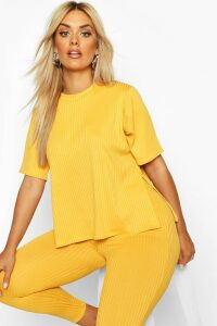 Womens Plus Oversized Side Split Jumbo Rib Tee - Yellow - 18, Yellow