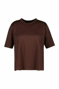 Womens Plus Oversized Side Split Jumbo Rib Tee - Brown - 20, Brown