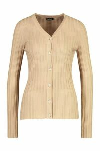 Womens Rib Knit Button Through Cardigan - beige - L, Beige