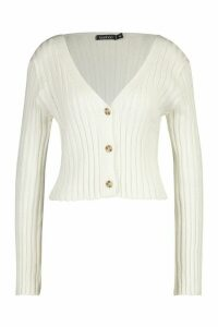 Womens Rib Knit Cropped Cardigan - cream - L, Cream