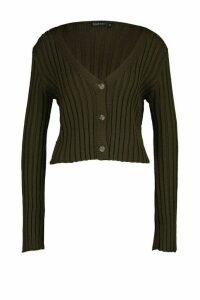 Womens Rib Knit Cropped Cardigan - green - M, Green