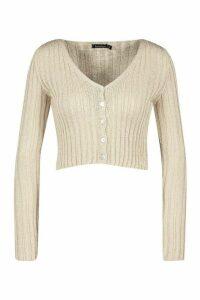 Womens Skinny Rib Knit Cropped Cardigan - beige - L, Beige