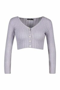 Womens Skinny Rib Knit Cropped Cardigan - purple - L, Purple