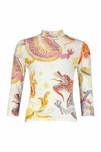 Womens Oriental Dragon roll/polo neck Top - white - 12, White