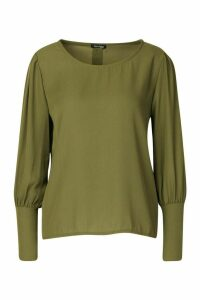 Womens Button Detail Long Sleeve Woven Blouse - green - 14, Green