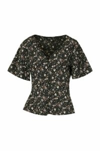Womens Floral Button Detail Blouse - black - 14, Black