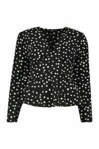 Womens Polka Dot Long Sleeve Blouse - black - 14, Black