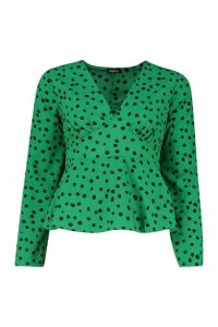 Womens Polka Dot Long Sleeve Blouse - green - 14, Green