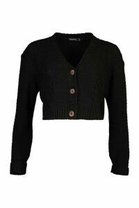 Womens Button Through Cable Knit Crop Cardigan - black - M, Black