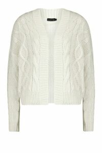 Womens Cable Knit Edge To Edge Cardigan - white - XS, White