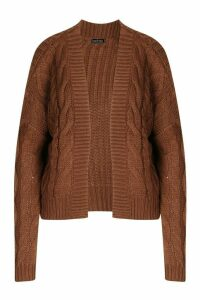 Womens Cable Knit Edge To Edge Cardigan - Brown - M, Brown