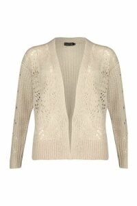 Womens Open Cable Knit Edge To Edge Cardigan - beige - XS, Beige