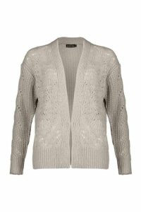 Womens Open Cable Knit Edge To Edge Cardigan - Grey - XS, Grey