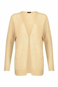 Womens Pocket Detail Edge To Edge Cardigan - beige - M, Beige