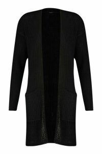 Womens Pocket Detail Longline Cardigan - black - M, Black