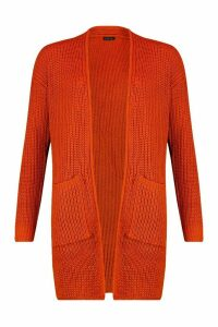 Womens Pocket Detail Longline Cardigan - Orange - Xs, Orange