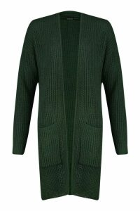 Womens Pocket Detail Longline Cardigan - Green - M, Green