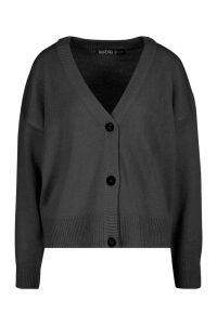 Womens Button Through Drop Shoulder Cardigan - black - L, Black