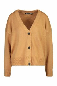 Womens Button Through Drop Shoulder Cardigan - beige - M, Beige