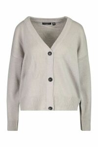 Womens Button Through Drop Shoulder Cardigan - grey - M, Grey
