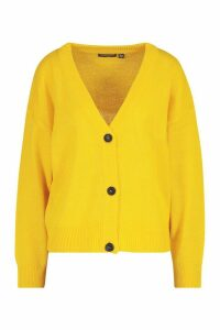 Womens Button Through Drop Shoulder Cardigan - yellow - M, Yellow