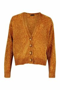 Womens Chenille Button Through Cardigan - yellow - M, Yellow