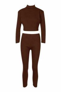 Womens roll/polo neck Rib Knit Set - beige - M/L, Beige