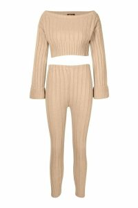 Womens Cropped Rib Knit Set - beige - M/L, Beige