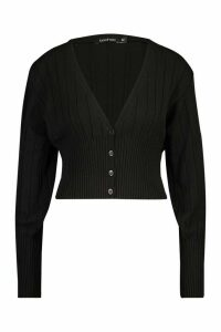 Womens Rib Knit Cropped Cardigan - black - L, Black