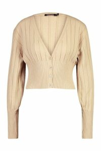Womens Rib Knit Cropped Cardigan - beige - L, Beige