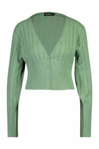 Womens Rib Knit Cropped Cardigan - green - L, Green