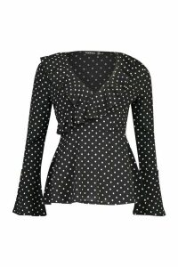 Womens Woven Polka Dot Wrap Over Ruffle Blouse - black - 8, Black