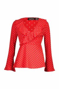 Womens Woven Polka Dot Wrap Over Ruffle Blouse - Red - 10, Red