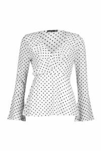 Womens Woven Polka Dot Wrap Over Ruffle Blouse - white - 10, White