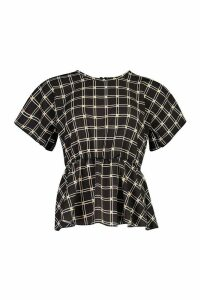 Womens Check Peplum Detail Blouse - black - 8, Black