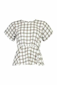 Womens Check Peplum Detail Blouse - white - 12, White
