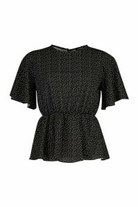 Womens Polka Dot Peplum Detail Blouse - black - 12, Black