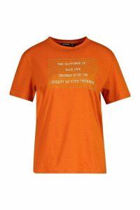 Womens Studded Slogan T-Shirt - orange - 6, Orange