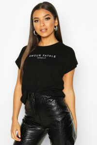 Womens Amour Fatale French Slogan T-Shirt - black - 12, Black