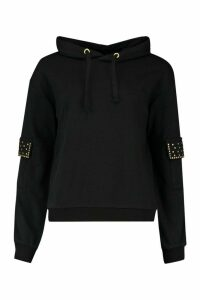Womens Studded Pocket Detail Hoody - black - 14, Black