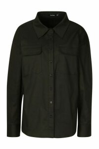 Womens Extreme Oversized Utility Shirt - black - 14, Black