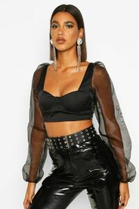 Womens Satin Bodice Balloon Sleeve Crop Top - black - 6, Black