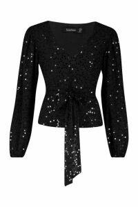 Womens Neon Sequin Plunge Blouse - black - 12, Black