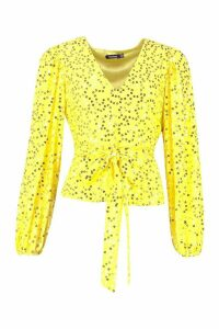 Womens Neon Sequin Plunge Blouse - yellow - 6, Yellow