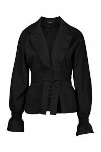 Womens Button Through Belted Long Sleeve Blouse - black - 14, Black