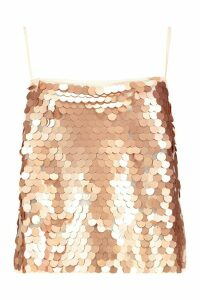 Womens Sequin Cross Back Cami - pink - 10, Pink