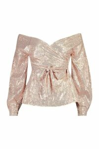 Womens Sequin Tie Waist Over The Shoulder Top - metallics - 6, Metallics